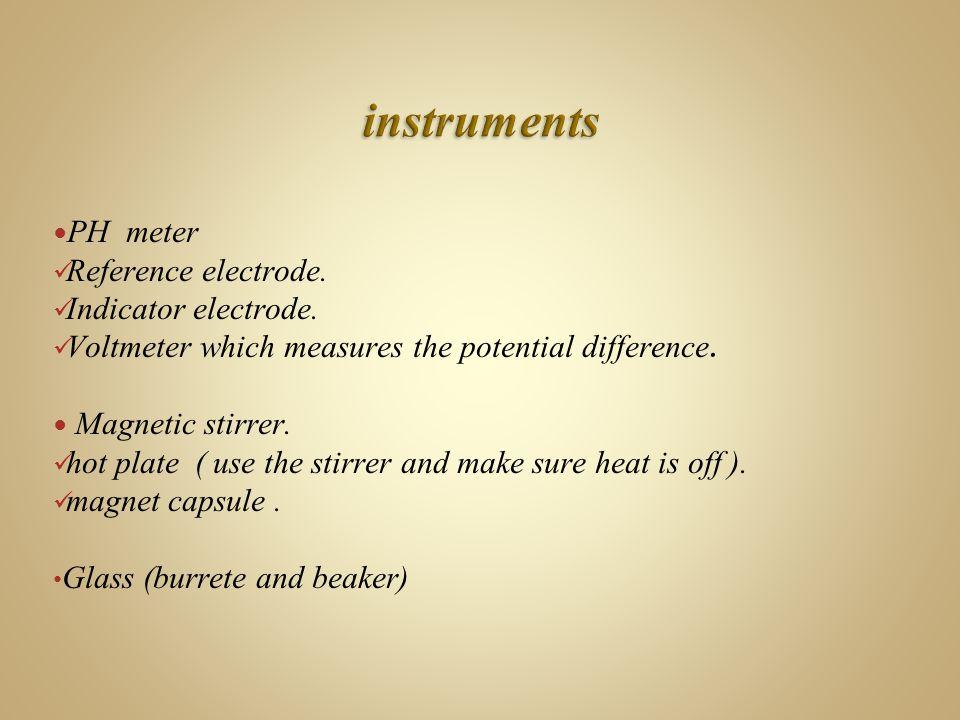 PH meter Reference electrode. Indicator electrode.