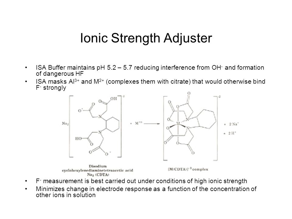 Ionic Strength Adjuster ISA Buffer maintains pH 5.2 – 5.7 reducing interference from OH - and formation of dangerous HF ISA masks Al 3+ and M 2+ (complexes them with citrate) that would otherwise bind F - strongly F - measurement is best carried out under conditions of high ionic strength Minimizes change in electrode response as a function of the concentration of other ions in solution