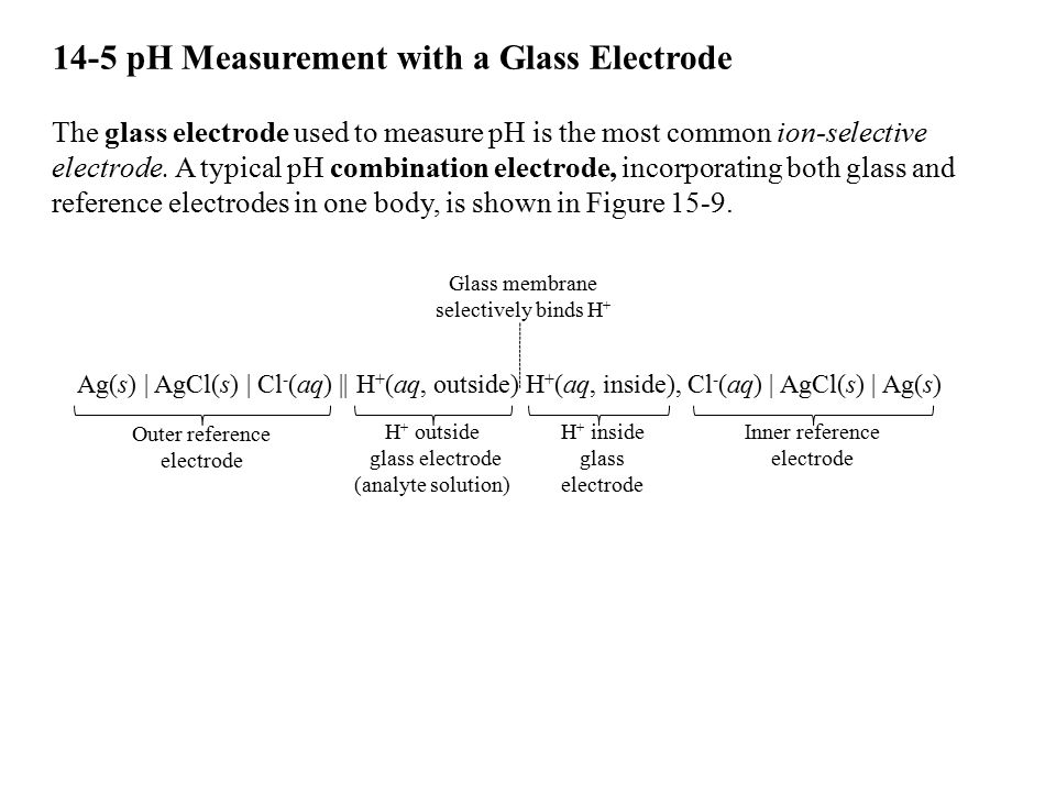 14-5 pH Measurement with a Glass Electrode The glass electrode used to measure pH is the most common ion-selective electrode. A typical pH combination
