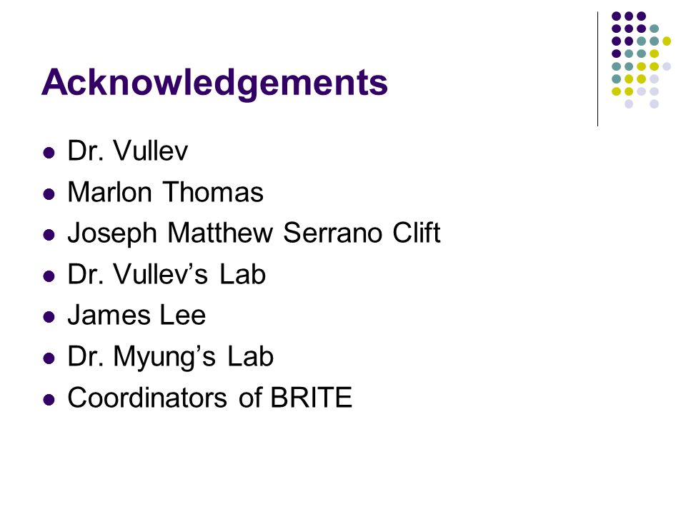 Acknowledgements Dr. Vullev Marlon Thomas Joseph Matthew Serrano Clift Dr.