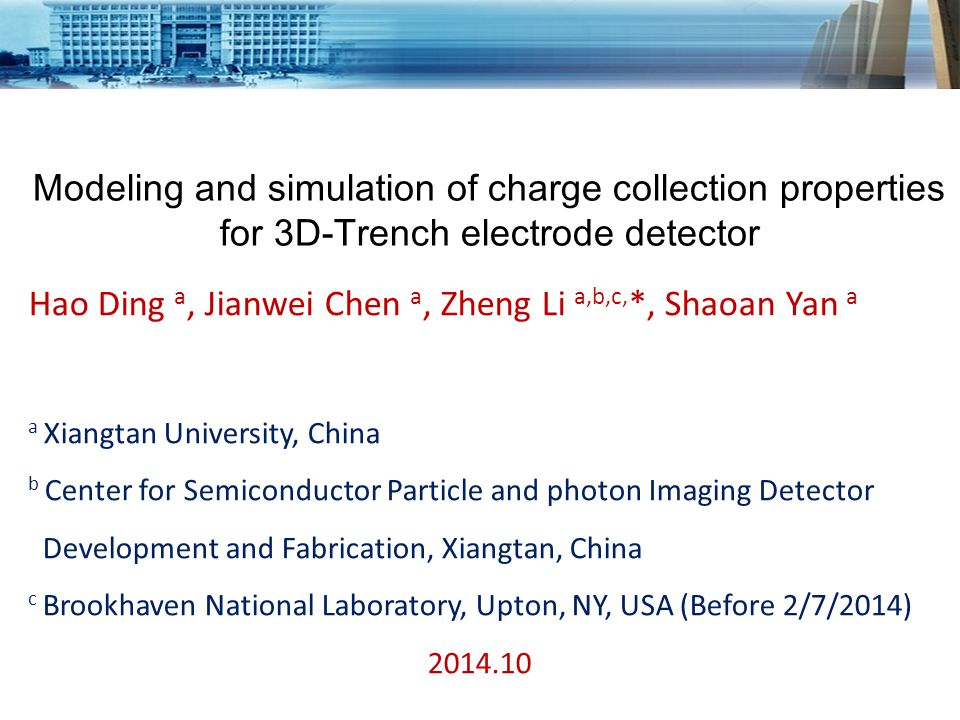Full 3D device simulation of 3D-trench detectors E-field profile at V=80 V E-field profile at V=100 V Electric field profiles of 3D-trench detectors (at cross section) at radiation fluence of 1x10 16 n eq /cm 2.