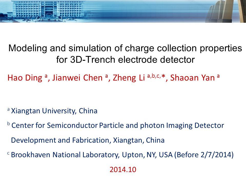 Structure of 3D-Trench electrode detector (Hexangular) Zheng Li, Nucl.