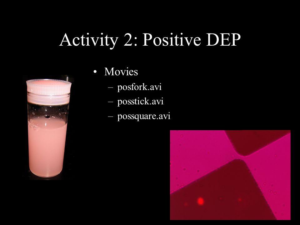 Activity 2: Positive DEP Movies –posfork.avi –posstick.avi –possquare.avi