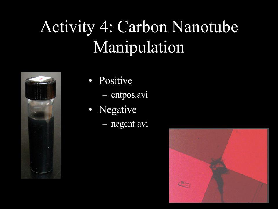Activity 4: Carbon Nanotube Manipulation Positive –cntpos.avi Negative –negcnt.avi