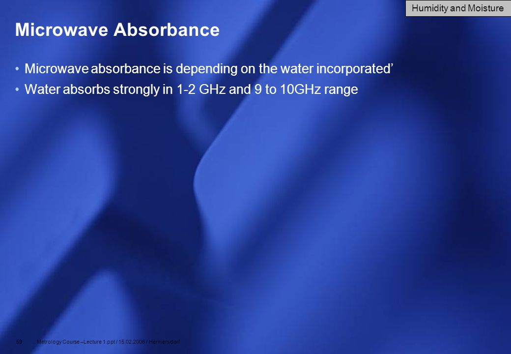 59 Metrology Course –Lecture 1.ppt / 15.02.2006 / Hermersdorf Microwave Absorbance Microwave absorbance is depending on the water incorporated' Water
