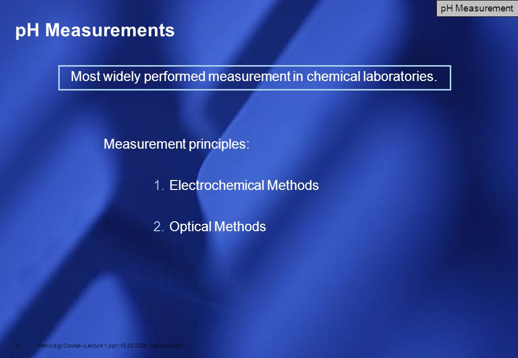 50 Metrology Course –Lecture 1.ppt / 15.02.2006 / Hermersdorf Thermal Conductivity Humidity Sensor Principle: measure the absolute humidity by quantifying the difference in thermal conductivity of dry air and humid air dry air has a greater capacity to sink heat (e.g.