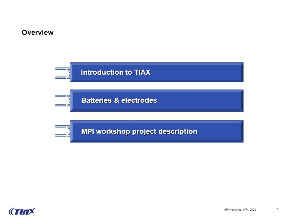 1 MPI workshop, WPI, 2008 Overview Introduction to TIAX Batteries & electrodes MPI workshop project description
