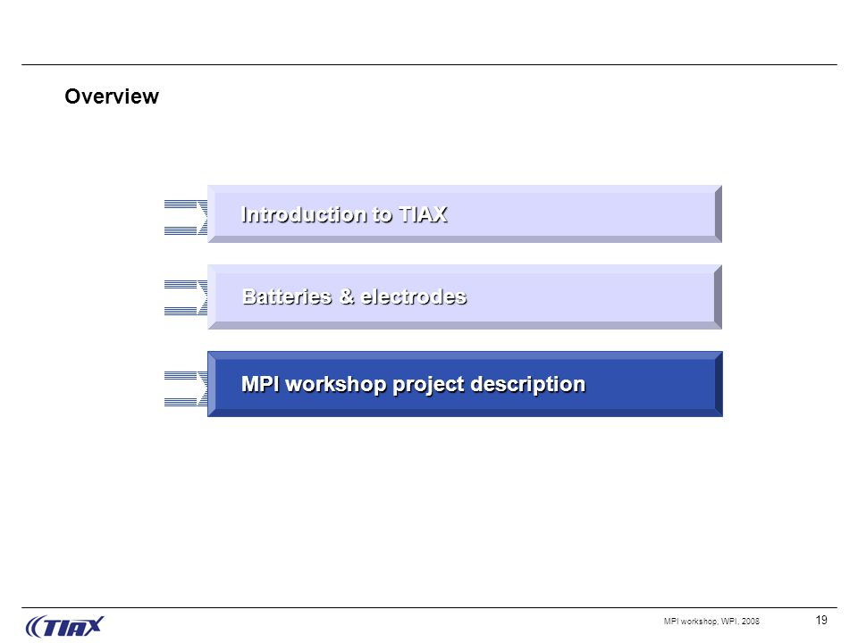 19 MPI workshop, WPI, 2008 Overview Introduction to TIAX MPI workshop project description Batteries & electrodes