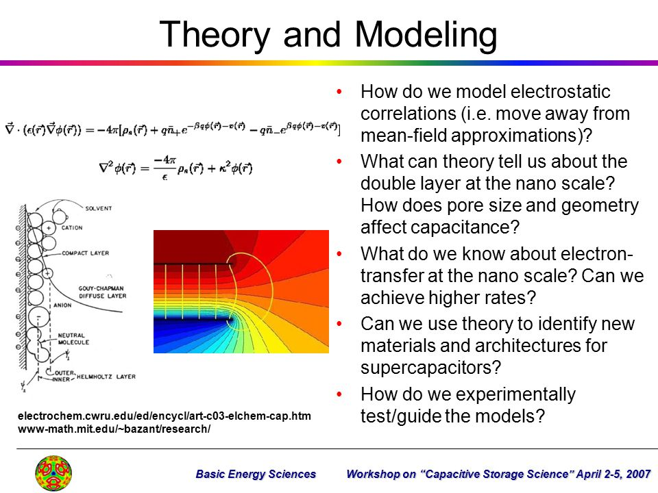Theory and Modeling How do we model electrostatic correlations (i.e. move away from mean-field approximations)? What can theory tell us about the doub
