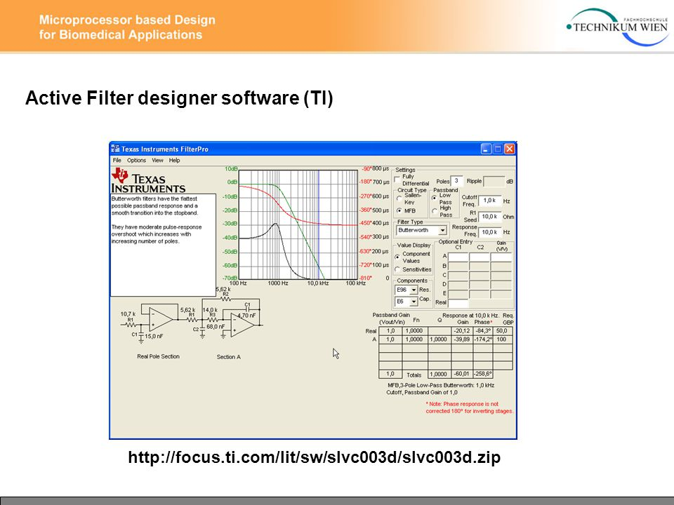 Active Filter designer software (TI) http://focus.ti.com/lit/sw/slvc003d/slvc003d.zip