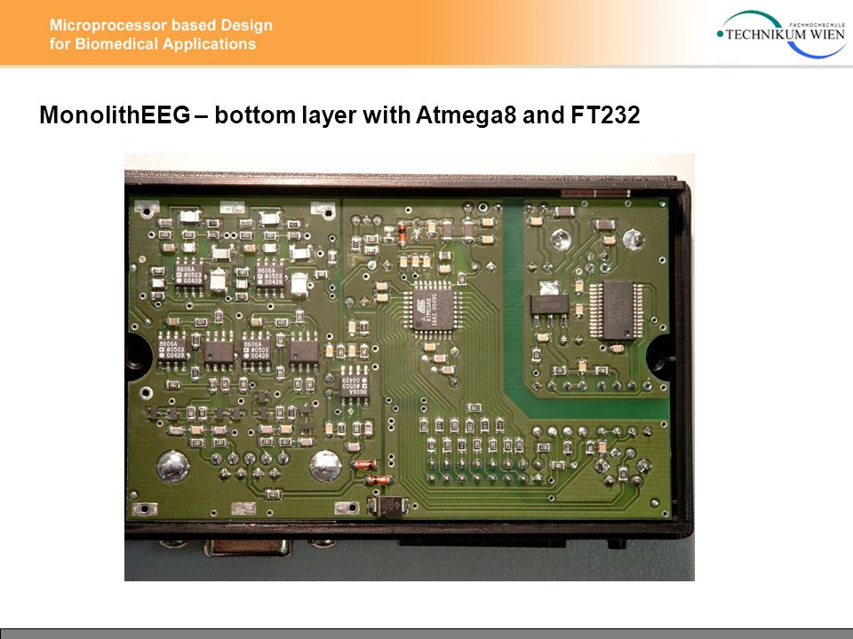 MonolithEEG – bottom layer with Atmega8 and FT232