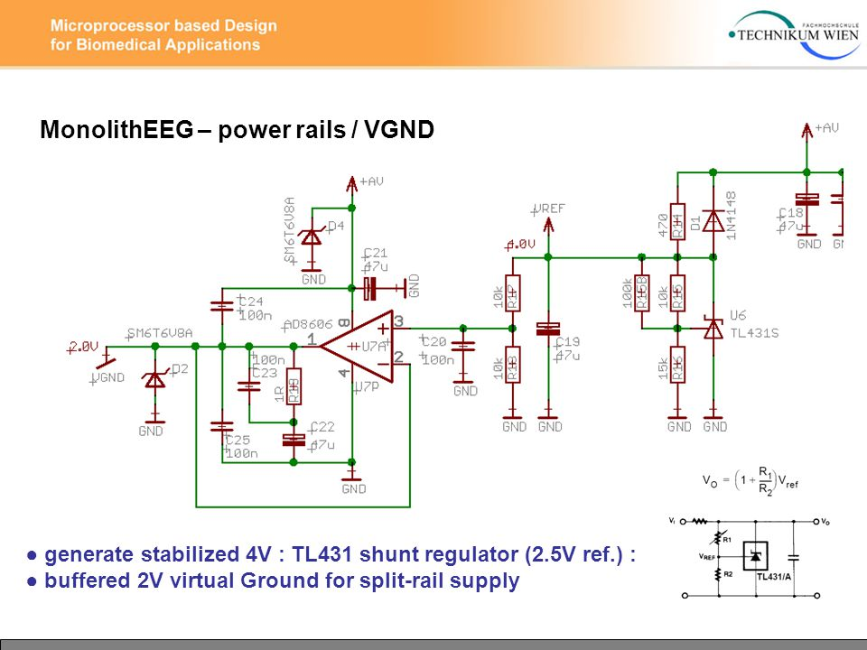 MonolithEEG – power rails / VGND ● generate stabilized 4V : TL431 shunt regulator (2.5V ref.) : ● buffered 2V virtual Ground for split-rail supply