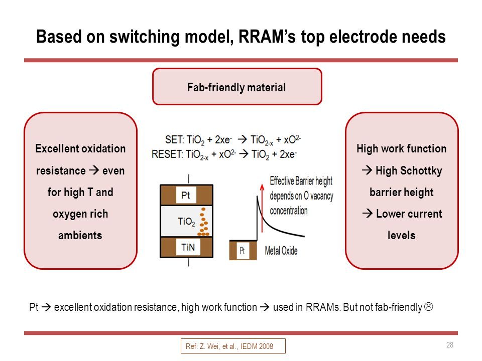 Based on switching model, RRAM's top electrode needs Pt  excellent oxidation resistance, high work function  used in RRAMs.