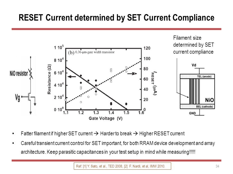 RESET Current determined by SET Current Compliance Fatter filament if higher SET current  Harder to break  Higher RESET current Careful transient cu