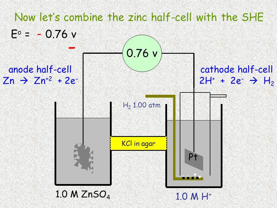 H 2 1.00 atm Pt 1.0 M H + 1.0 M ZnSO 4 0.76 v cathode half-cell 2H + + 2e -  H 2 anode half-cell Zn  Zn +2 + 2e - KCl in agar Zn - Now let's combine the zinc half-cell with the SHE E o = - 0.76 v