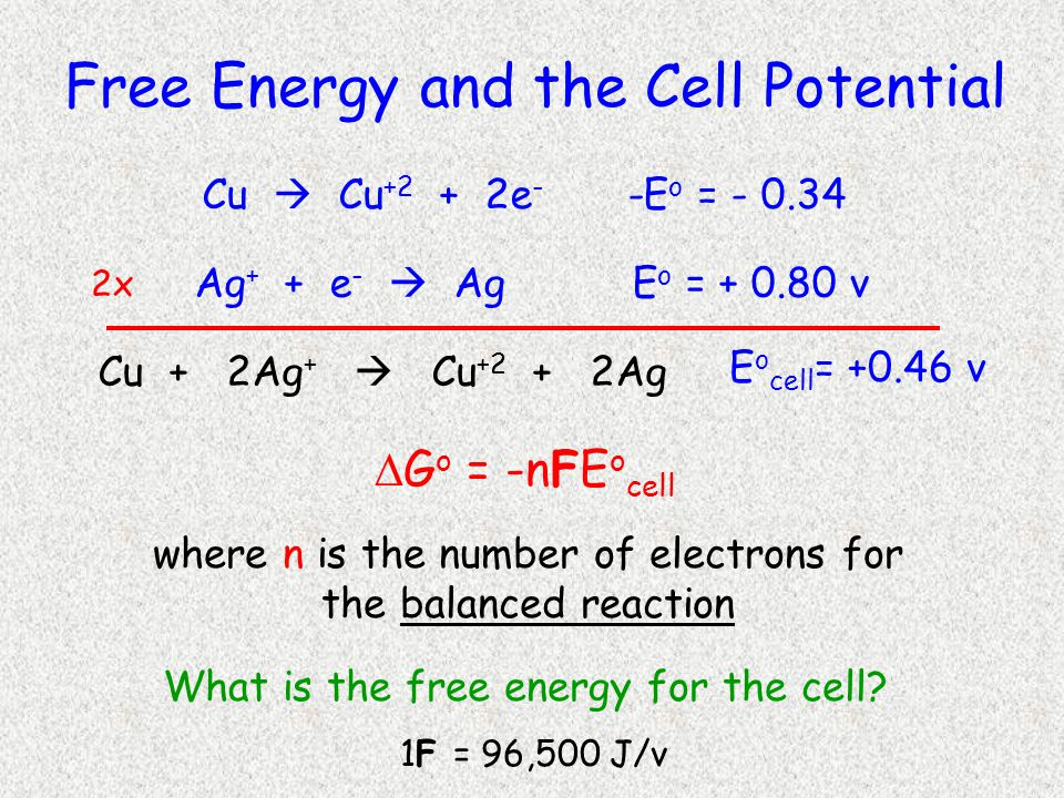  G o = -n F E o cell Free Energy and the Cell Potential Cu  Cu +2 + 2e - -E o = - 0.34 Ag + + e -  Ag E o = + 0.80 v 2x Cu + 2Ag +  Cu +2 + 2Ag E o cell = +0.46 v where n is the number of electrons for the balanced reaction What is the free energy for the cell.