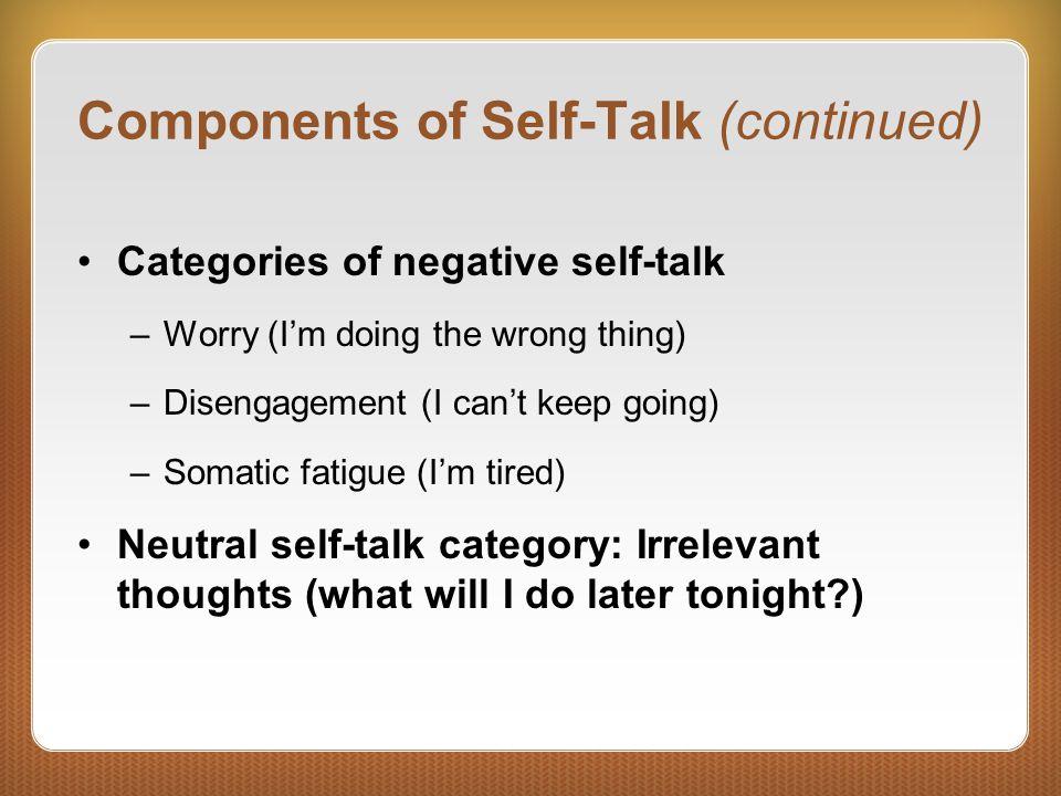 Use of Self-Talk Motivational Initiating action Sustaining effort Instructional Skill acquisition Breaking bad habits