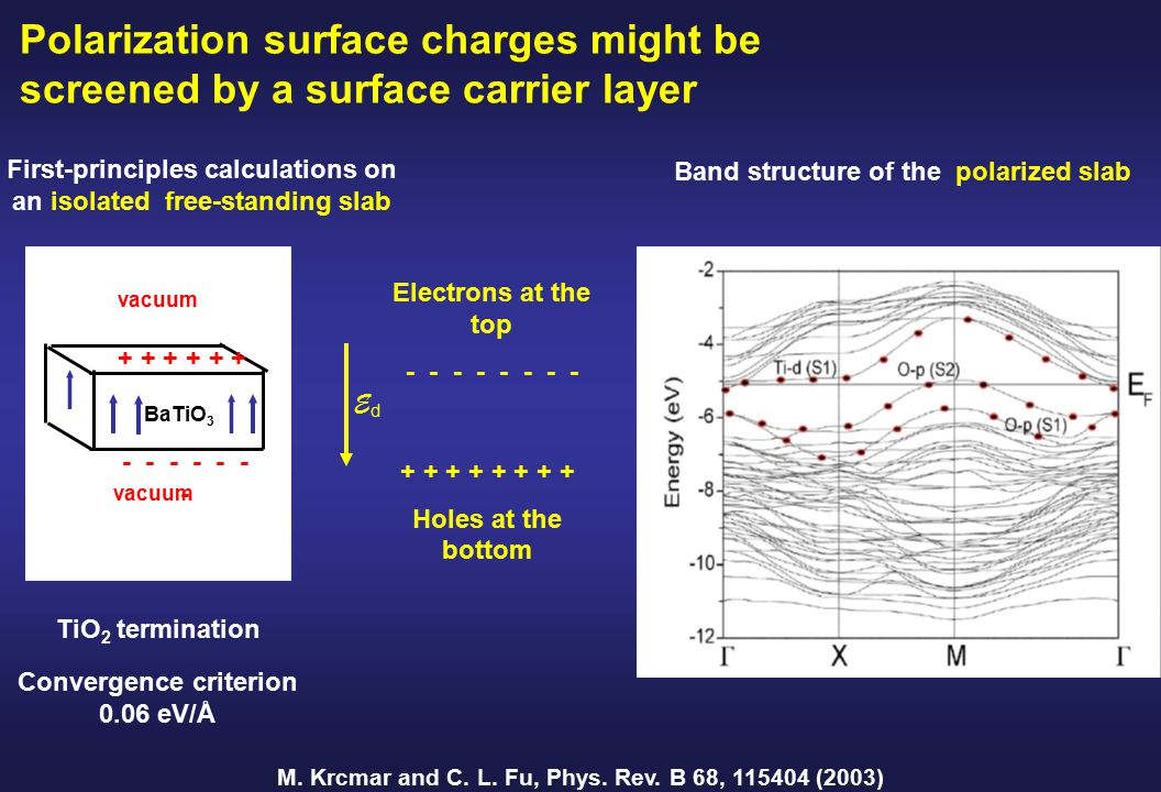 Polarization surface charges might be screened by a surface carrier layer M.