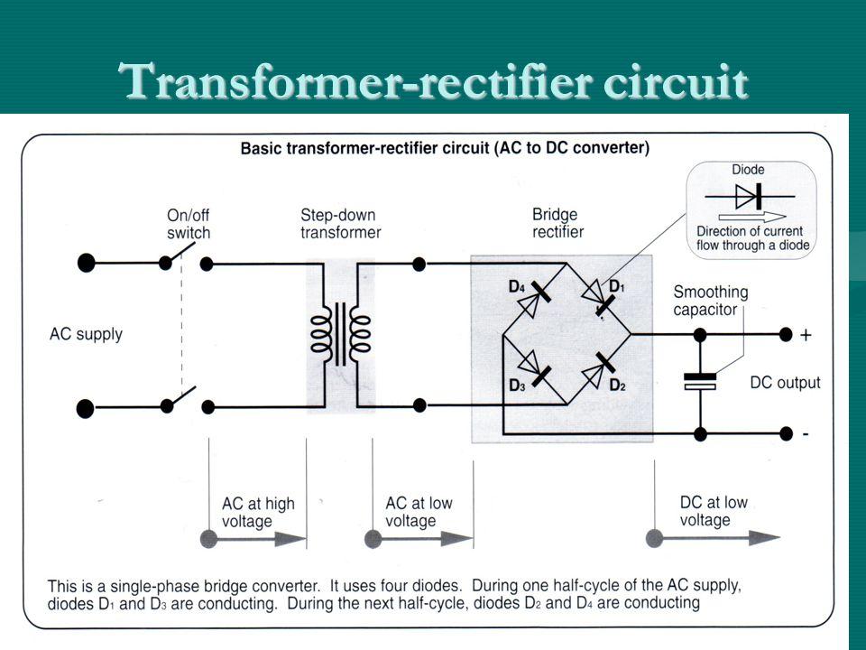 Transformer-rectifier circuit - A.C.to D.C.