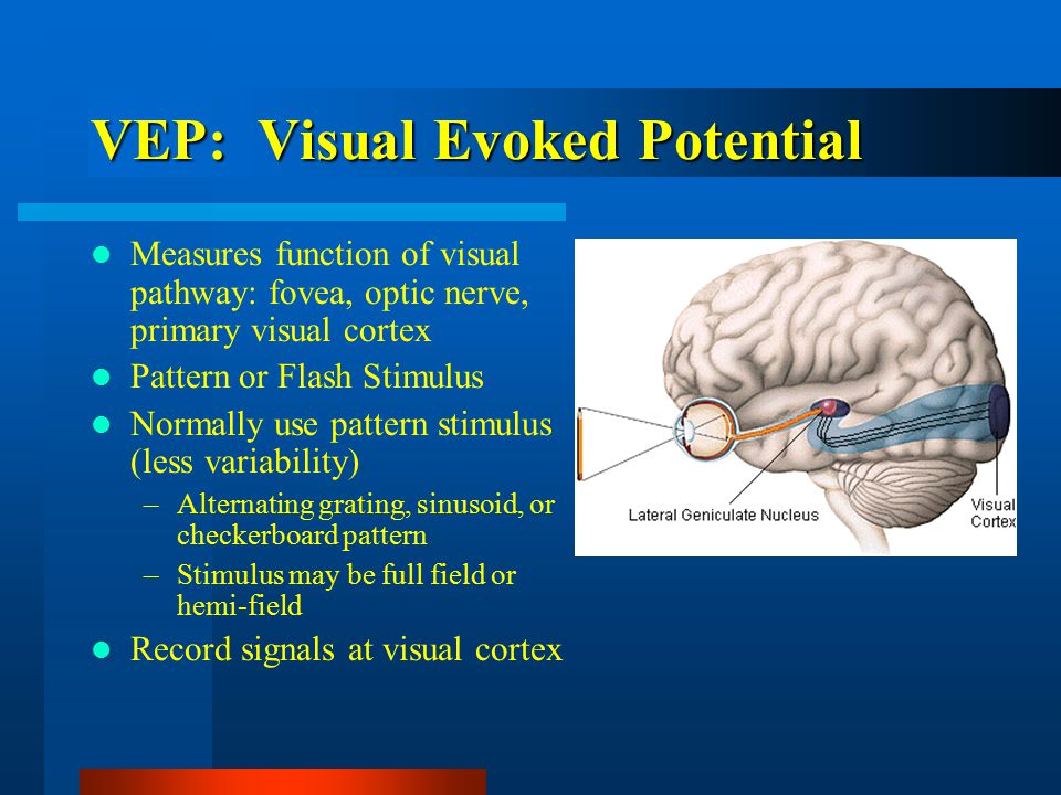 VEP: Visual Evoked Potential Measures function of visual pathway: fovea, optic nerve, primary visual cortex Pattern or Flash Stimulus Normally use pattern stimulus (less variability) –Alternating grating, sinusoid, or checkerboard pattern –Stimulus may be full field or hemi-field Record signals at visual cortex