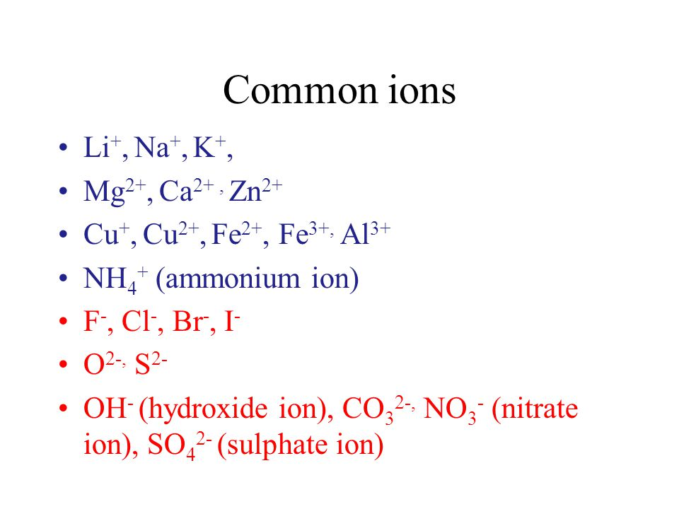 Common ions Li +, Na +, K +, Mg 2+, Ca 2+, Zn 2+ Cu +, Cu 2+, Fe 2+, Fe 3+, Al 3+ NH 4 + (ammonium ion) F -, Cl -, Br -, I - O 2-, S 2- OH - (hydroxid