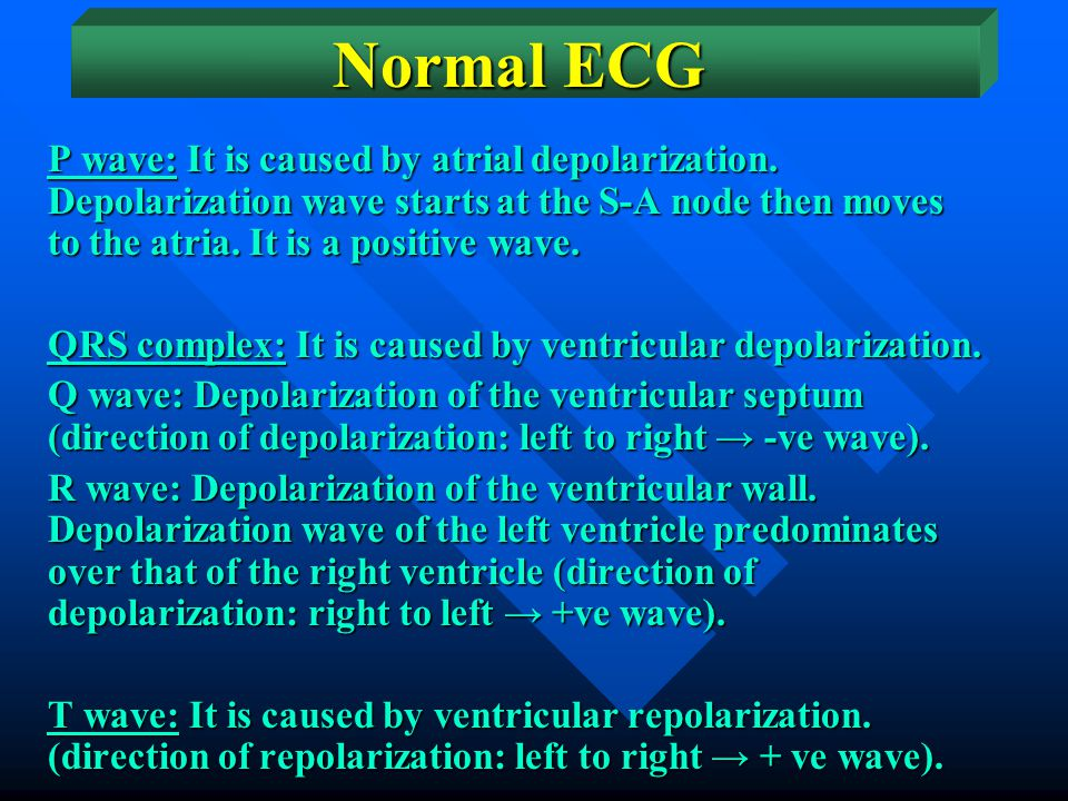 Normal ECG The normal ECG has five waves, designated as P, Q, R, S, and T waves. The shape and amplitude of the waves differ in different leads.
