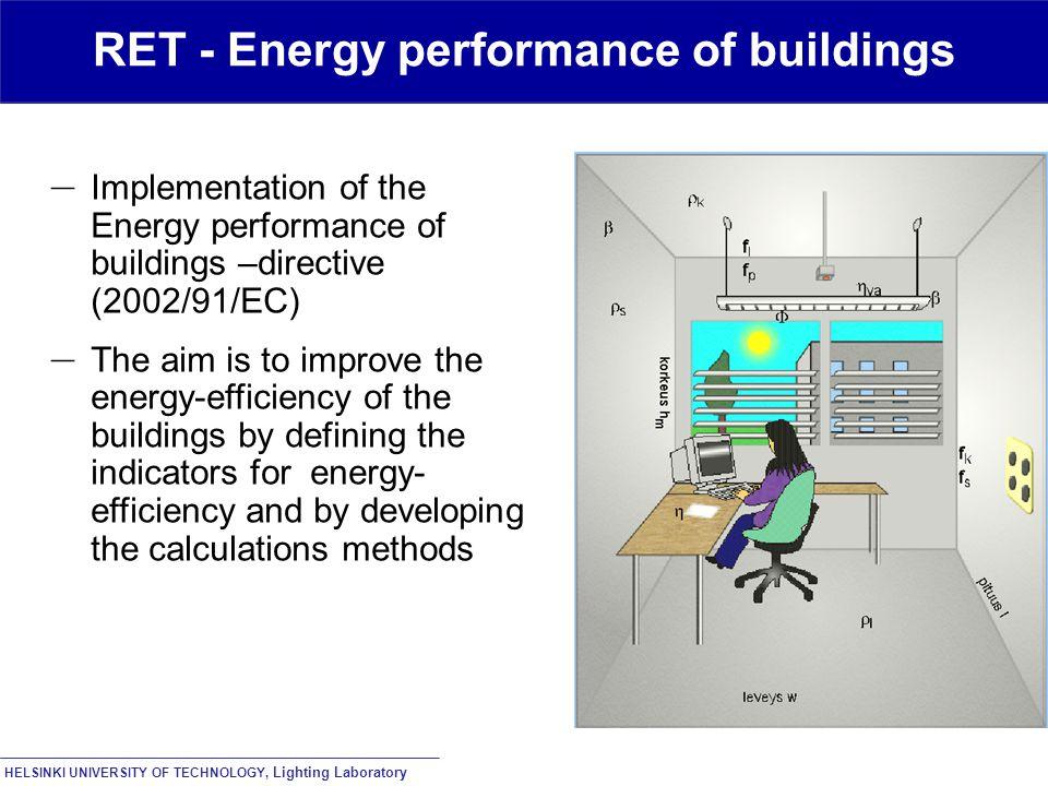 HELSINKI UNIVERSITY OF TECHNOLOGY, Lighting Laboratory RET - Energy performance of buildings – Implementation of the Energy performance of buildings –