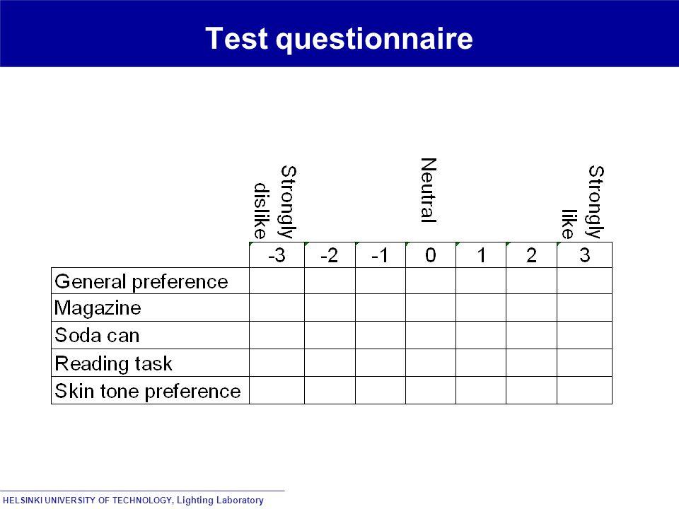 HELSINKI UNIVERSITY OF TECHNOLOGY, Lighting Laboratory Test questionnaire