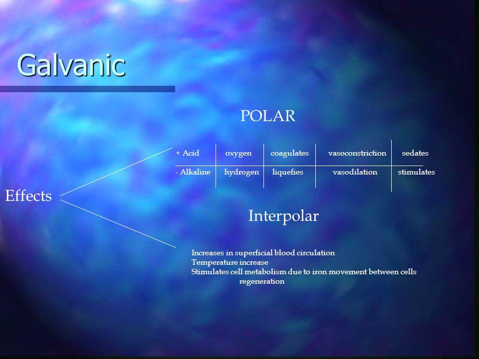 Galvanic Effects POLAR Interpolar + Acid oxygen coagulates vasoconstriction sedates ______________________________________________________________ - A