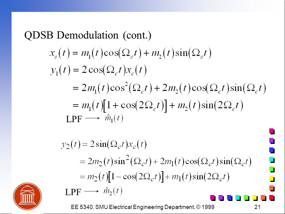 EE 5340, SMU Electrical Engineering Department, © 199921 QDSB Demodulation (cont.) LPF
