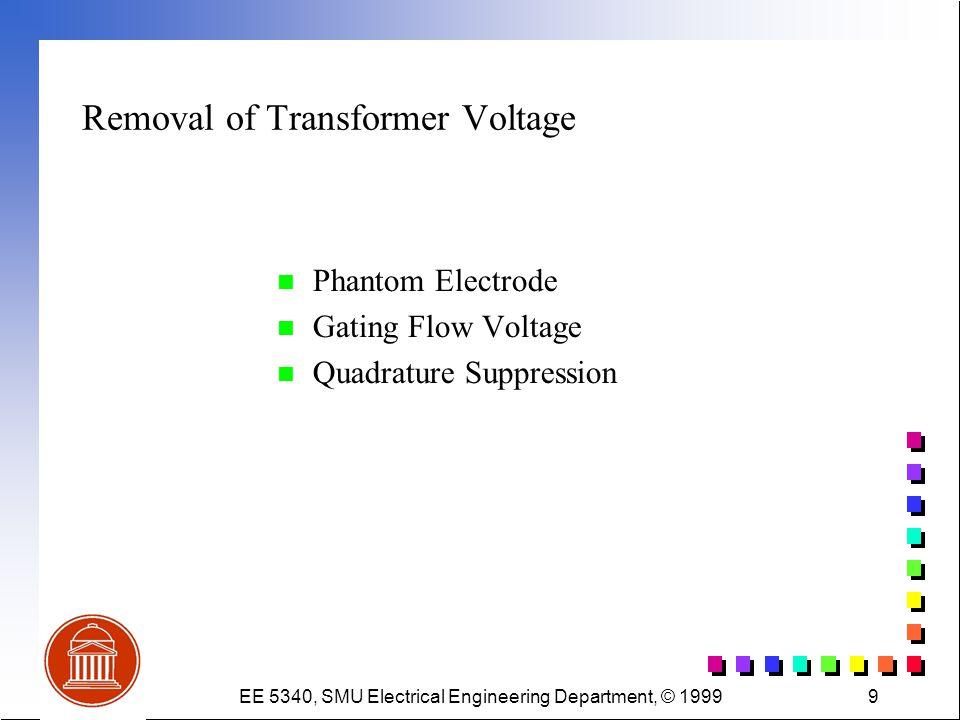 EE 5340, SMU Electrical Engineering Department, © 19999 Removal of Transformer Voltage n Phantom Electrode n Gating Flow Voltage n Quadrature Suppress