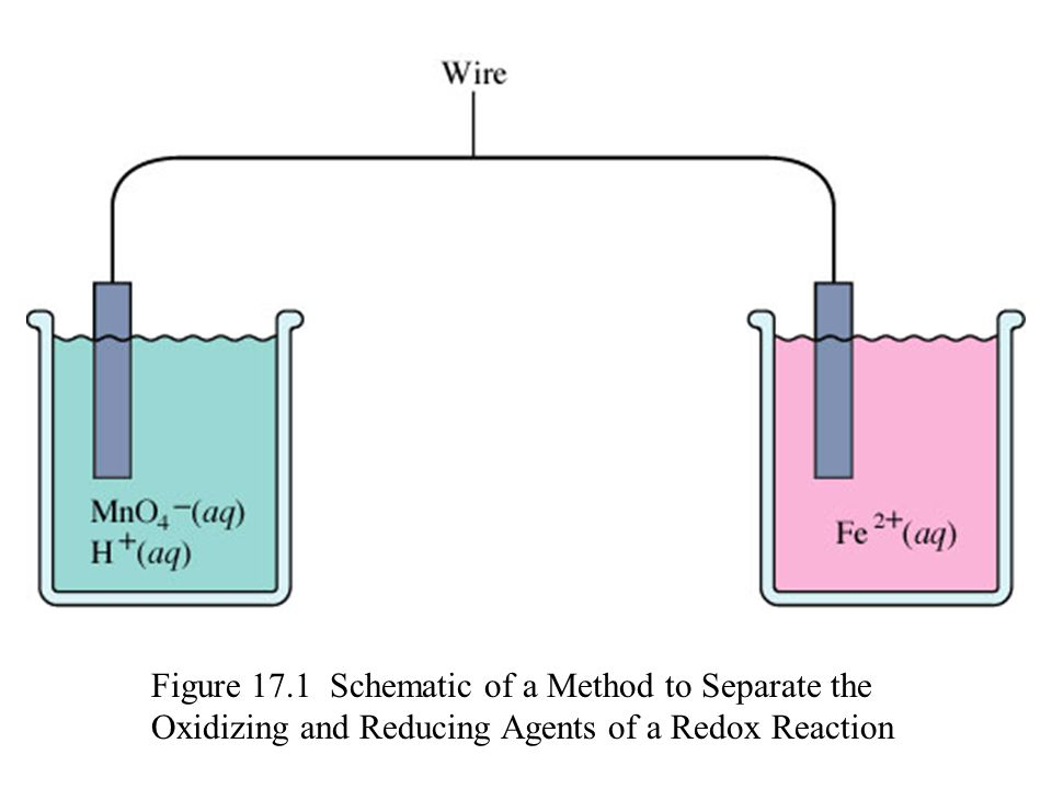 Figure 17.1 Schematic of a Method to Separate the Oxidizing and Reducing Agents of a Redox Reaction
