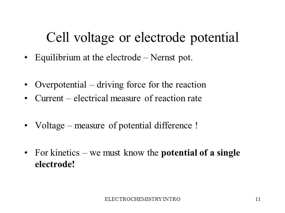 ELECTROCHEMISTRY INTRO10 Transport properties Structure of electrolytes, dissociation Movement of ionic species Mobility, velocity of part i v i = E · u i Conductivity  = e · N i · z i · u i Transference number