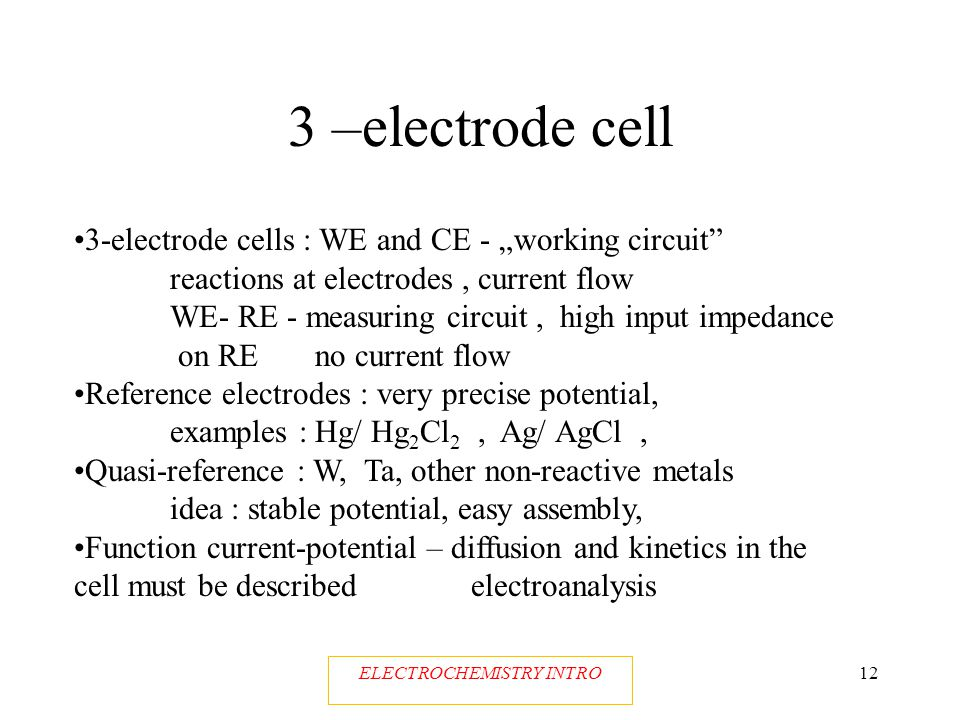 ELECTROCHEMISTRY INTRO11 Cell voltage or electrode potential Equilibrium at the electrode – Nernst pot.