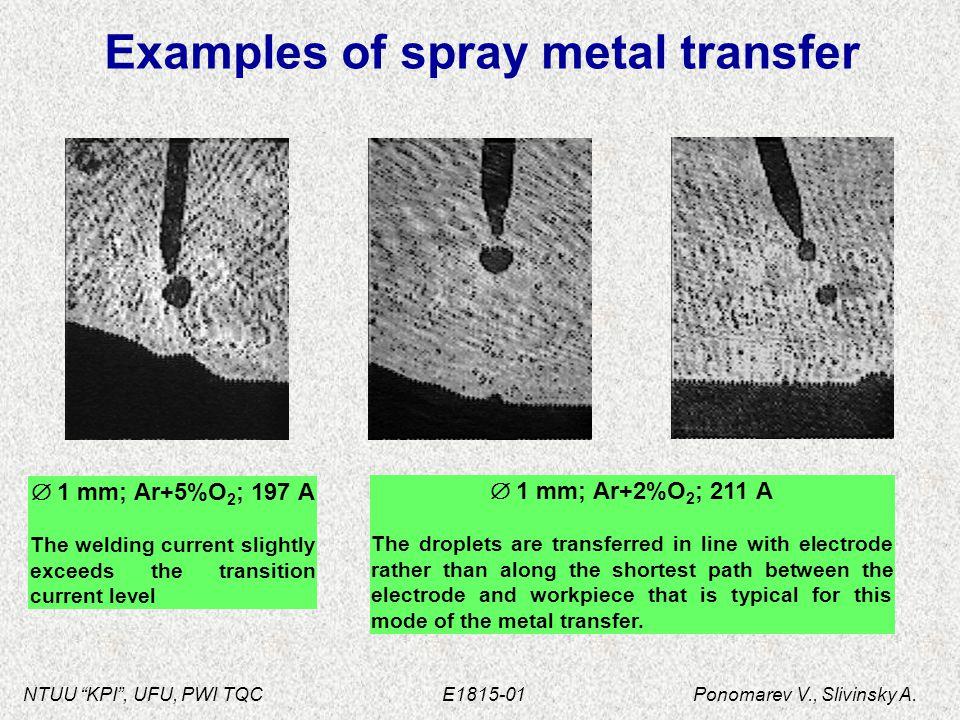"""NTUU """"KPI"""", UFU, PWI TQC E1815-01 Ponomarev V., Slivinsky A. Examples of spray metal transfer  1 mm; Ar+5%O 2 ; 197 А The welding current slightly ex"""