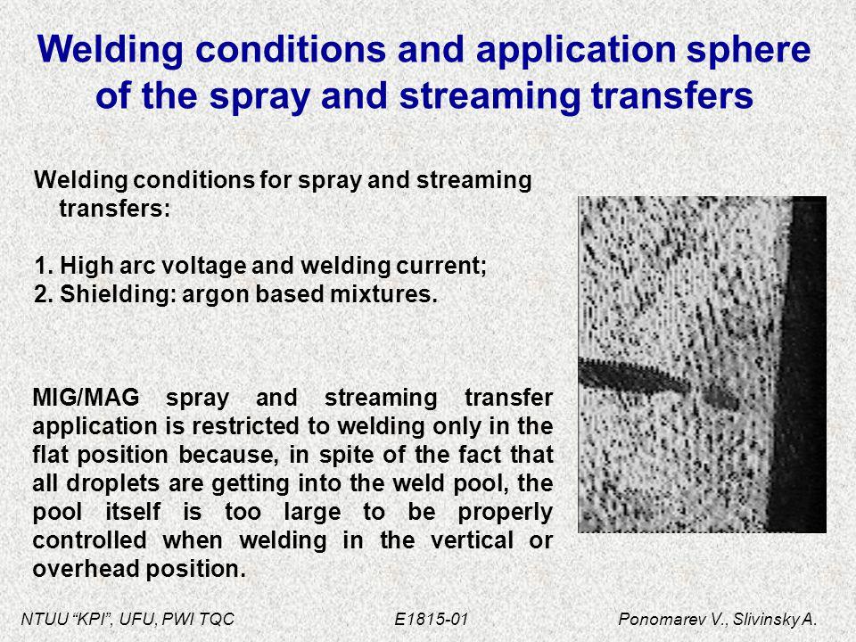 "NTUU ""KPI"", UFU, PWI TQC E1815-01 Ponomarev V., Slivinsky A. Welding conditions and application sphere of the spray and streaming transfers Welding co"