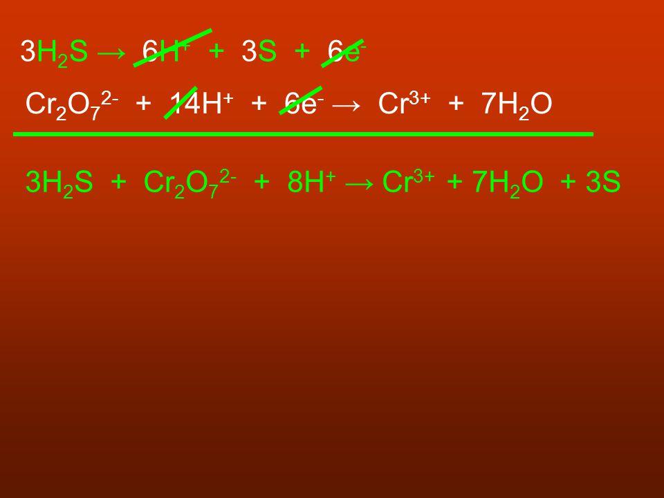 3H 2 S → 6H + + 3S + 6e - Cr 2 O 7 2- + 14H + + 6e - → Cr 3+ + 7H 2 O 3H 2 S + Cr 2 O 7 2- + 8H + → Cr 3+ + 7H 2 O + 3S