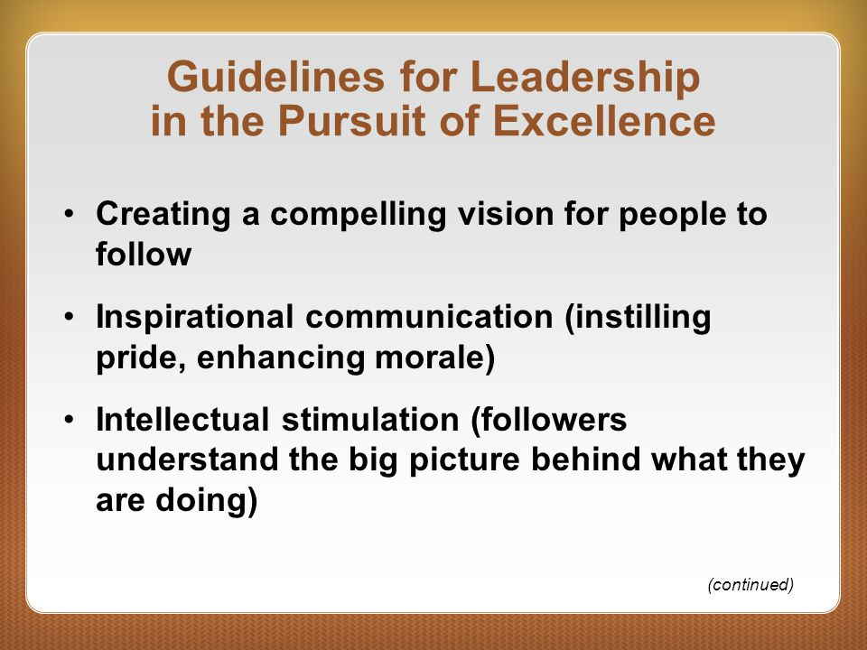 Guidelines for Leadership in the Pursuit of Excellence Creating a compelling vision for people to follow Inspirational communication (instilling pride