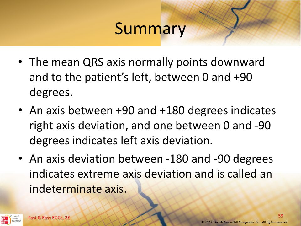 Fast & Easy ECGs, 2E © 2013 The McGraw-Hill Companies, Inc. All rights reserved. Summary The mean QRS axis normally points downward and to the patient