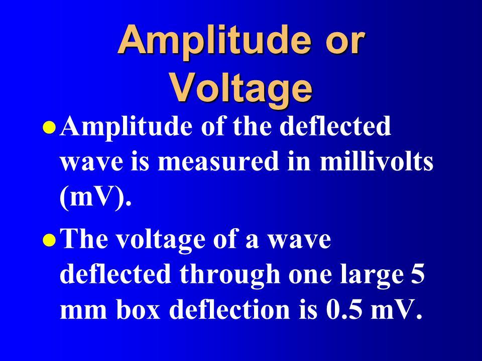 Amplitude or Voltage l Amplitude of the deflected wave is measured in millivolts (mV).