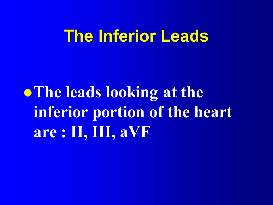 The Inferior Leads l The leads looking at the inferior portion of the heart are : II, III, aVF