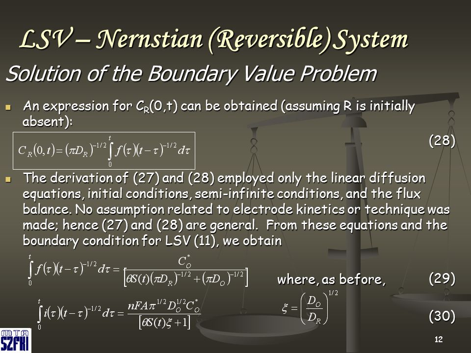 12 LSV – Nernstian (Reversible) System Solution of the Boundary Value Problem An expression for C R (0,t) can be obtained (assuming R is initially abs