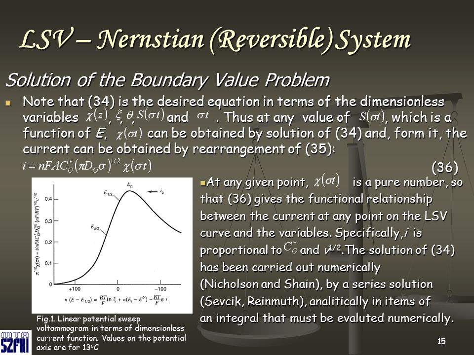 15 LSV – Nernstian (Reversible) System Solution of the Boundary Value Problem Note that (34) is the desired equation in terms of the dimensionless var