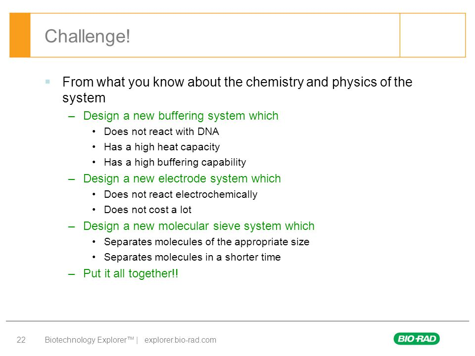Biotechnology Explorer™ | explorer.bio-rad.com 22 Challenge!  From what you know about the chemistry and physics of the system –Design a new bufferin