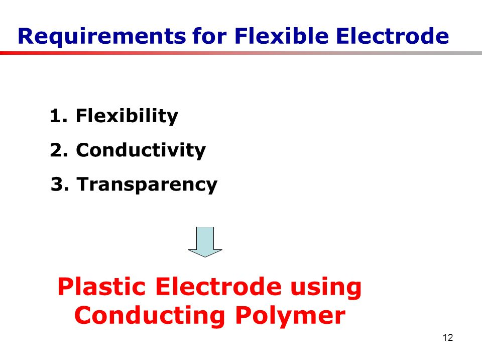 12 Requirements for Flexible Electrode 1. Flexibility 2.