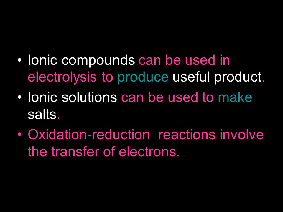 The Electrolysis Process For electrolysis to take place there needs to be: Two electrodes – A positive electrode (anode), and a negative electrode (Cathode) An Ionic solution Electricity.