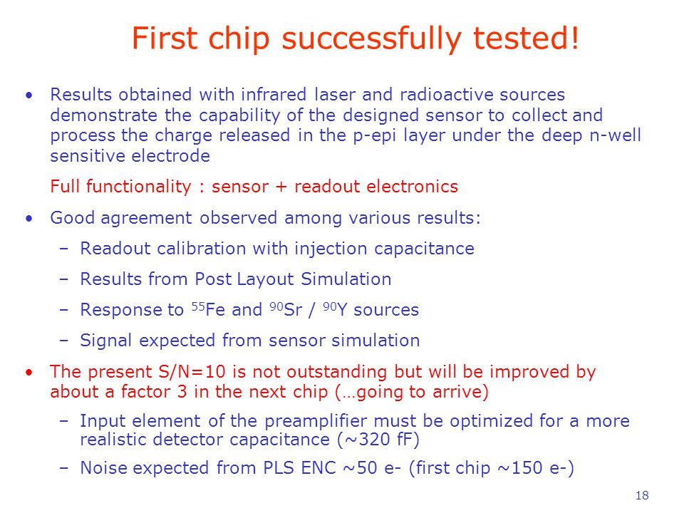 18 First chip successfully tested.