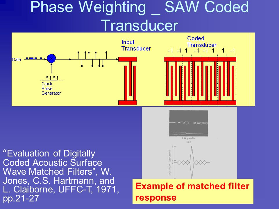 Weighting Techniques Q: How do we weight both transducers to obtain better filter performance? A: Apply tap weighting to the transducer without using