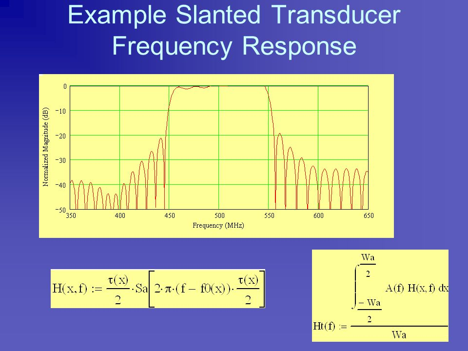 Slanted Transducer Energy Distribution vs Frequency vs Beam Position Filter response is visualized as the sum of multiple individual narrowband freque