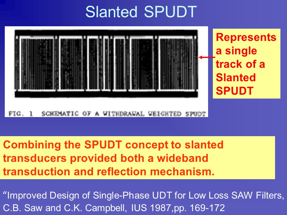 "Early Single Level SPUDT ""Low Loss SAW Devices Employing Single Stage Fabrication"", M. Lewis, IUS 1983, pp.104-108, Transducer is comb structure with"